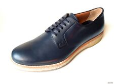 new $690 men's PRADA navy blue leather Espadrille Derby oxfords shoes 9 US 10