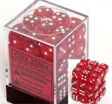 Chessex Dice d6 Sets Red w/ White Translucent 36 12mm Six Sided Die CHX 23804