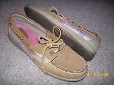 MAUI ISLAND BROWN PINK GOLD LEATHER  SEQUIN BOAT DECK SHOES SIZE 7 1/2WIDE