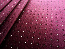 BEADED STRETCH VELOUR WINE TEX EX 1334 DRESSMAKING FANCY DRESS DANCE FABRIC