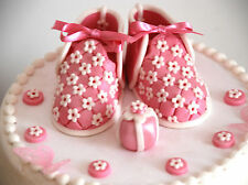 Edible Baby Pink Shoes Set Birthday / Baby Shower Handmade Sugarpaste Topper