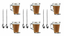 New 6x LATTE COFFEE CAPPUCCINO GLASSES 240ml MUGS HOT DRINK CUPS 6 FREE SPOONS