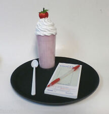 FAKE FOOD DINER CAR HOP STRAWBERRY SHAKE TRAY SET GREAT PROP FOR DANCERS