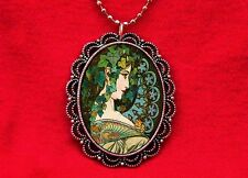 ART NOUVEAU IVY LEAF WOMAN RENAISSANCE VINTAGE PENDANT NECKLACE