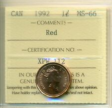 1967-1992 Canada Small cent Certified ICCS MS-66