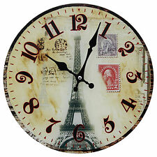 "TKF 12"" Tempered Glass Wall Clock with Paris Eiffel Tower Postcard Design"