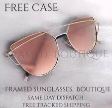 ROSE GOLD SUNGLASSES Mirrored AVIATOR CATEYE Celeb DESIGNER Festival BEACH.1