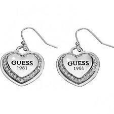 Orecchini GUESS UBE11461 Cuore Acciaio Swarovski Pietre Bianche Donna Heart Logo