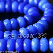 Genuine 5x8mm Faceted Sapphire Blue Jade Abacus Rondelle Loose Beads Strand 15''