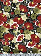 Fabric #2080 Floral Asian Gold Metallic Quilt Gate End of Bolt at 23 Inches