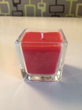 Brand new square glass candle, modern design, red Christmas pudding scent wax