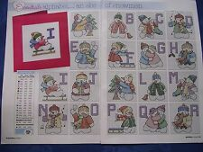 LITTLE SNOWMEN IN BRIGHT CLOTHING CHRISTMAS ALPHABET & NUMBER CROSS STITCH CHART