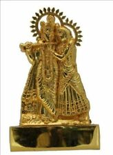 "Radha Krishna 6""  ANTIQUE METAL SMALL STATUE CAR HOME HINDU IDOL MURTI MANDIR"