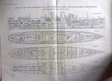 1920 Lnwr Irish Channel Steamer,curraghmore Section And Deck Plan