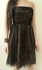LA REDOUTE BLACK PARTY DRESS SIZE 8 - GOLD SEQUIN PRINTED - STRAPLESS NEW