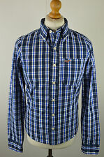 Trendy men's Hollister navy blue multi check long sleeved shirt small 40""