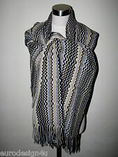 "AUTH MISSONI XL KNIT WOOL BLEND 21""X71"" TRIMS SCARF ORANGE LBL made in Italy"