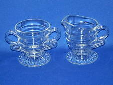 INDIANA GLASS CHRISTMAS CANDY CLEAR CREAM AND SUGAR SET