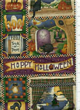 debbie mumm ~ HAPPY HALLOWEEN ~ fabric witch bat owl cat moon trick or treat bty