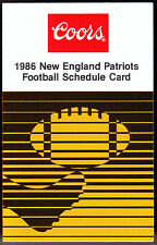 1986 NEW ENGLAND PATRIOTS COORS BEER FOOTBALL POCKET SCHEDULE FREE SHIPPING