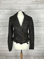 Womens River Island Faux Leather Biker Jacket - UK8 - Brown - Great Condition