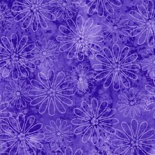 Fabric Flower Sketched Lines Purple on Purple Cotton by the 1/4 yard