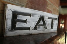 Fixer upper decor farmhouse kitchen sign EAT rustic wood signs carved dining