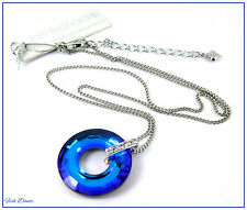 JON RICHARD SWAROVSKI BLUE CRYSTAL HOOP SILVER PENDANT NECKLACE TICKET PRICE £50