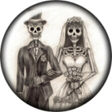 Snap button Halloween Skeleton Wedding Couple 18mm Cabochon chunk charm