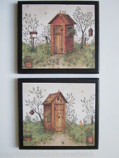 Outhouses His & Hers Plaques country rustic bathroom wall signs primitive bath