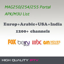 Europe USA Turkish India Africa Arabic IPTV 1800+ Support MAG250/254/255 Portal