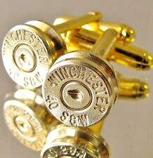 40 S&W WINCHESTER Bullet Cufflinks Gold Brass Country Wedding Grooms Dress Gift