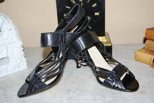 MAX STUDIO BLACK LEATHER PEEP TOE STRAPPY HIGH HEEL WOMEN'S SHOES NWOB SZ 9.5 M