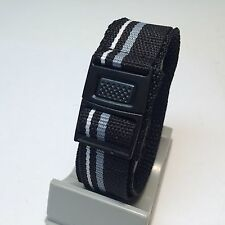 Nylon Sport Watch Band~Velcro+Plastic Clasp~Water Resistant~20mm Wide~21cm Long