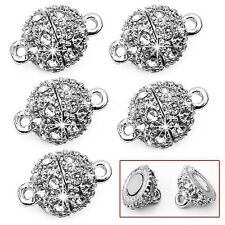 5Pcs 9mm Silver Round Crystal Rhinestone Strong Magnetic Clasps