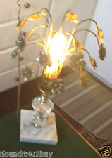 Vintage RETRO Lucite & Marble Based - 17 Hanging Flowers Prism Table Lamp