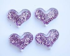 Pink Glitter Heart 38mm Pendant for Chunky Necklace 4ct Beads