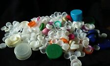Lot of 500 Used Plastic Soda Pop Bottle Caps Art Crafts Mural White Pink