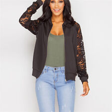 Womens Crochet Lace Embroidered Long Sleeve Crewneck Zip Up Bomber Jacket Coat