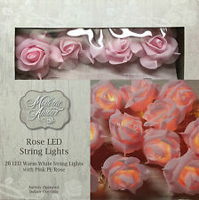 NEW Modern Amour Rose Led String Lights-20 Warm Lights With Pink PE Rose