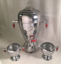 Mid Century Keystone Chrome Plate Coffee Percolator Urn Sugar Creamer Bakelite