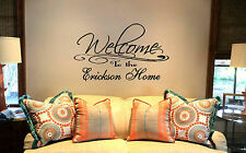 "24"" Welcome to the Personalized Family Name home. Custom Decal Wall vinyl quote"