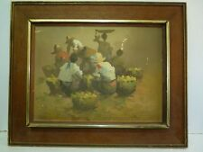 Filipino Oil Painting, Philippine Merchants in Market, R. Polul 1975, 30 x 40 cm