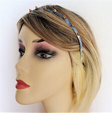 Fab Tie Dye Effect Denim Look Headband with Gold Tone Studs Goth Punk 8 mm wide