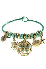 Bangle Bracelet Beach Sand Dollar Starfish Mint Ocean Sea Life Dangle Charm