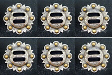 """Set of 6 WESTERN SADDLE HEADSTALL ANTIQUE GOLD SLOTTED BERRY CONCHOS 1-1/2"""""""