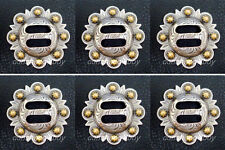 Set of 6 WESTERN SADDLE HEADSTALL ANTIQUE GOLD SLOTTED BERRY CONCHOS 1-1/2""