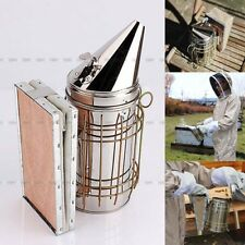 Bee Hive Smoker Tool Stainless Steel With Heat Shield Beekeeping Equipment USA