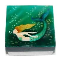 Kubla Crafts Capiz Shell Mermaid Swim Green Trinket Jewelry Gift Change Box