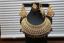 Gold Tone Stone Necklace Earring  Indian Bollywood Jewelry Set Bridal